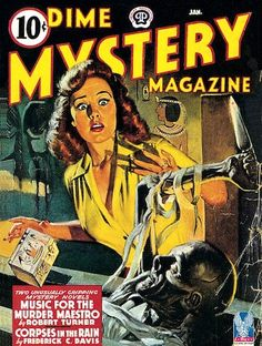 Dime Mystery Magazine pulp cover art girl woman dame knife dagger stab mummy Egypt Egyptian casket foreign exotic danger