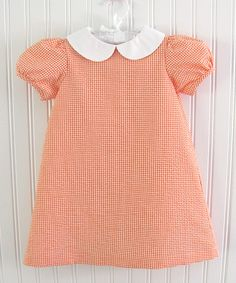 Take a look at this Orange Gingham Peter Pan Dress - Infant, Toddler & Girls on zulily today!