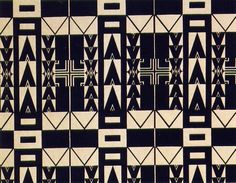 'Santa sofia' textile design by Josef Hoffmann, produced by Wiener Werkstatte in 1910 next
