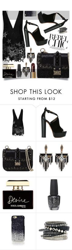 """""""In The Dark"""" by sonny-m ❤ liked on Polyvore featuring Anthony Vaccarello, Aquazzura, Valentino, Lulu Frost, Chanel, Dolce&Gabbana, OPI, Marc by Marc Jacobs and H&M"""