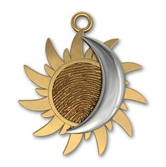 Fingerprint Sun in Yellow Gold and Overlaying Moon in White Gold by Imprint On My Heart