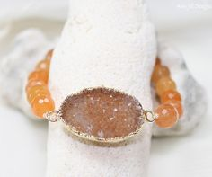 Peach Druzy Bracelet Orange Aventurine Beaded by AmyJillDesigns,