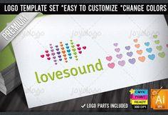 Love Music Audio Beats Logo Template by joyologo on @creativemarket