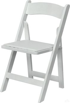 FREE SHIPPING 76+   WHITEWOOD FOLDING CHAIR WITH WHITE VINYL CUSHION   800  Lb Capacity