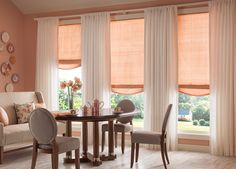 Rose colored #shades and #drapes create a soft and soothing ambiance. #BudgetBlinds