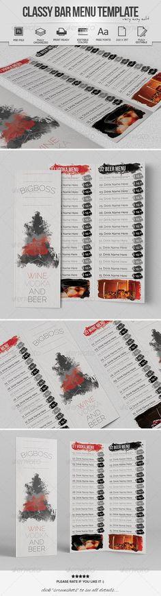 Classy Bar Menu Template #design #speisekarte Download: http://graphicriver.net/item/classy-bar-menu-template/7986314?ref=ksioks