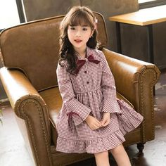 Girl's Long-sleeved Dress New Baby Princess Dress Autumn 2018 Children Plaid Dress Cotton Toddler Tops Bow Kids Dress, Baby Princess Dress, Baby Dress, Little Dresses, Little Girl Dresses, Little Girl Fashion, Kids Fashion, Frock Patterns, Fall Outfits, Cute Outfits