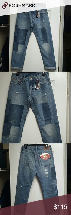 Womens Levi's Cropped size 26 x 32 New with Tags Never Worn, faded, distressed and cropped the perfect jeans!!! And oh yeah, the patchwork is so awesome... Levi's Jeans Ankle & Cropped