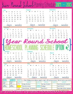 Year Round Homeschool Planning Schedule. Color Option 2. #7stephomeschoolplanner #ihsnet
