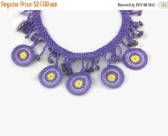 SALE 20% Crochet Necklace Purple Crochet Necklace Beaded Circles Necklace Boho Jewelry Gift For Her Summer Fashion Statement Necklace