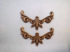 Large Oxidized Brass Scroll Corner Stampings (2) - BORAT6964 Jewelry Finding