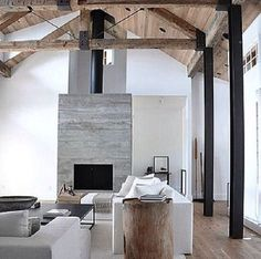 Found on Juxtapose design Instagram. Love the exposed beam and how airy the space is!