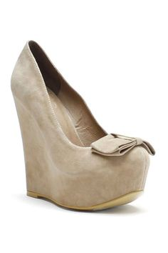 Camel Suede Bow Accent Wedge