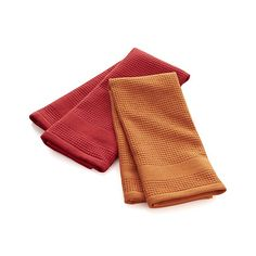 Set of 2 Red Waffle-Terry Dish Towels - Crate & Barrel :: $13 for set of 2