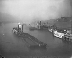 Several steamboats, including the Frank Gilmore and the Adam Jacobs, cruise down the Monongahela River in Pittsburgh in this photo from around Pittsburgh Skyline, Pittsburgh Pa, Pittsburgh Bridges, Old Pictures, Old Photos, Pennsylvania History, Mount Washington, Boston Public Library, Steamboats