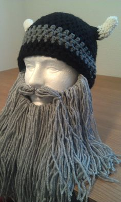 crocheted Viking Helmet with long grey beard