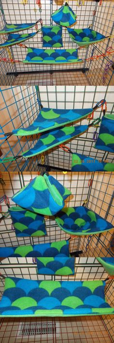 Bedding 149078: Fleece Fleece Green Blue Bumpy Sugar Glider 6 Piece Cage Set -> BUY IT NOW ONLY: $35.95 on eBay!