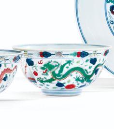 Bol en porcelaine wucai Chine, dynastie Qing, marque et époque Daoguang (1821-1850)  - Sotheby's