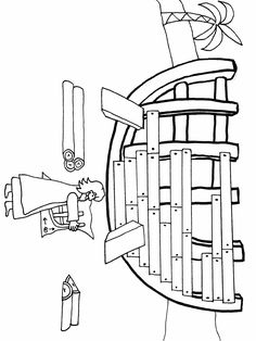 Coloring page.  Noah building the ark.