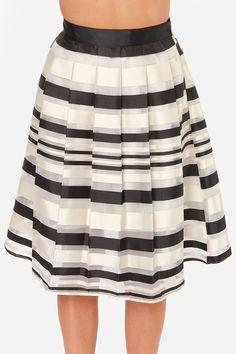 Grand Champion Cream Striped Midi Skirt at Lulus.com! Flared Skirt, Midi  Skirt 849bb00012e2