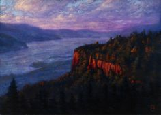 Sunset On The Vista House Painting  - Sunset On The Vista House Fine Art Print