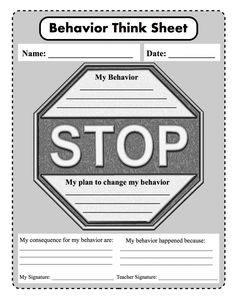 Behavioral Think Sheet for Schools - Based on PRIDE (P- Positive R- Respectful I- Involved D- Determined E- Excellent)