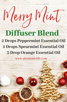 15 Amazing Essential Oil Holiday Diffuser Blends - This minty diffuser blend is great for christmas. Diffuser blends for the holidays.