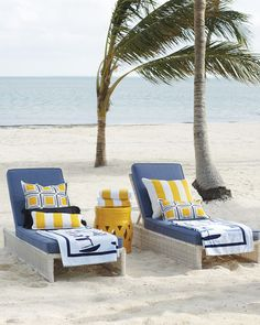Denim cushions give these coastal outdoor chaises a chic twist, while throw pillow styling adds a pop of yellow and pattern. Coastal Bedrooms, Coastal Homes, Coastal Living, Coastal Decor, Outdoor Pillow Covers, Outdoor Cushions, Pool Furniture, Outdoor Furniture, Decks And Porches