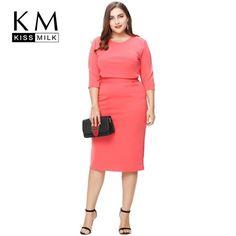 061699ca89f Kissmilk Plus Size New Fashion Women Clothing Casual Solid Streetwear Dress  Elegant Tied Big Size Dress