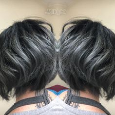 Image result for transition to grey hair with highlights