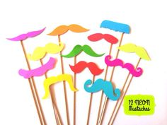 Photo Booth Props  - NEON Mustache Bash - Set of 12 NEON Mustaches on a stick - Photobooth Props Party Props