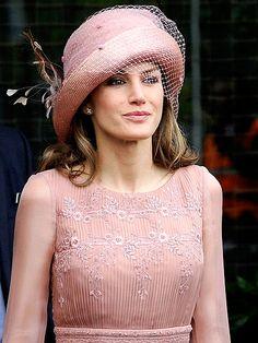 princess letizia of spain at the royal wedding. nice hat.