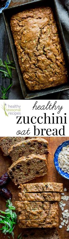 This Healthy Zucchini Oat Bread is packed with zucchini and sweetened with dates raisins and a touch of honey instead of refined sugar. The oats make it sturdy enough to pack in a picnic basket or lunchbox.