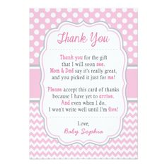 Baby Shower Thank You Card | Baby Pink Polka Dots - baby gifts child new born gift idea diy cyo special unique design