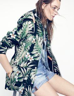 penfield® vassan parka jacket worn with the madewell jean vest + denim boyshorts.