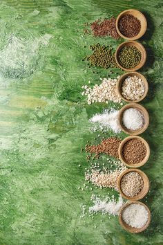 Variety of grains by Natasha Breen on Food Background Wallpapers, Food Wallpaper, Food Backgrounds, Food Graphic Design, Food Menu Design, Flat Lay Photography, Food Photography, Green Texture Background, Spice Logo