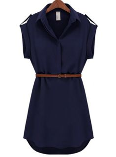 Navy Lapel Short Sleeve Loose Chiffon Dress