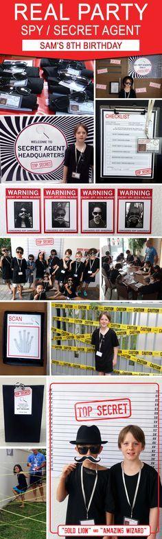 Sam's 8th Secret Agent or Spy Birthday Party   Spy & Secret Agent Theme Ideas & Inspiration for kids