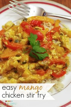 Are you looking for any easy meal to whip up on a busy night?  This simple chicken stir fry recipe uses mango as it's base.  It's absolutely delicious!