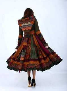 Colorful Fall Sweater Coat  Recycled Dream by EnlightenedPlatypus
