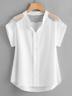 Shop Hollow Out Lace Panel Dip Hem Blouse online. SheIn offers Hollow Out Lace Panel Dip Hem Blouse & more to fit your fashionable needs.