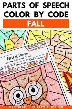 Parts of Speech Color by Code Fall Grammar Worksheets Grammar Activities, Teaching Grammar, Grammar Worksheets, Kids Learning Activities, Learning Resources, Fun Learning, Primary Classroom, Elementary Teacher, Language Arts