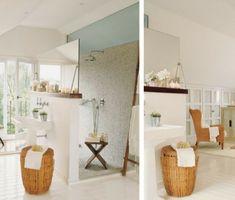 Offenes Duschen Design - Eine Trennwand zwischen Dusche und Waschbecken