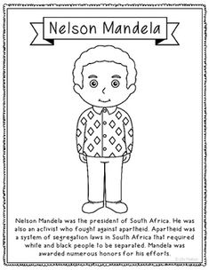 Nelson Mandela Biography Coloring Page Craft or Poster, South Africa Nelson Mandela For Kids, Nelson Mandela Biography, South Africa Map, Africa Flag, Art Activities For Kids, Art For Kids, History Interactive Notebook, Interactive Notebooks, South African Flag