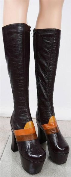 Vtg 1970's IcOniC HUGE PLATFORM Brown TaLL Leather HiPPiE DiScO BooTs #GIUSTI #Boots
