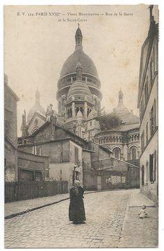 Paris Montmartre Street View Photo Postcard c. by GatherAntiques, $5.00