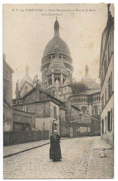 Paris Montmartre Street View Photo Postcard c. by GatherAntiques, $5.00