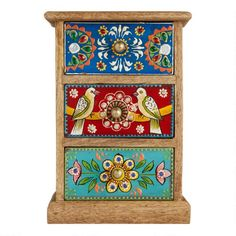 Crafted in India from mango wood, our decorative tabletop storage chest is highlighted with hand-painted drawers featuring a delightful pair of love birds and Painted Drawers, Painted Boxes, Painted Chest, Funky Painted Furniture, Doll House Crafts, Mirror Painting, Affordable Home Decor, Diy Arts And Crafts, Furniture Makeover