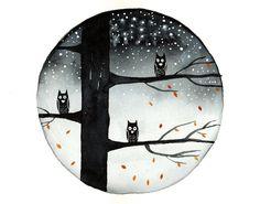 Original Watercolor painting Owl art Autumn fall by bluepalette, $20.00