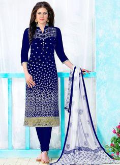 21060c9c3 Enticing Resham Work Blue Cotton Churidar Designer Suit Buy Salwar Kameez  Online